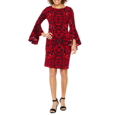 Ronni Nicole 3/4 Bell Sleeve Scroll Print Shift Dress