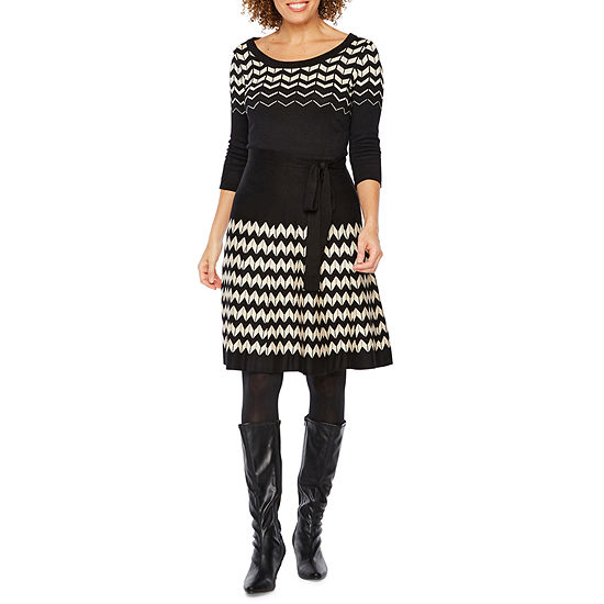 b4a61c7f17 Danny   Nicole Belted 3 4 Sleeve Sweater Dress - JCPenney