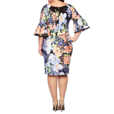 Danny & Nicole Long Sleeve Floral Shift Dress - Plus