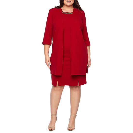 Maya Brooke 3/4 Sleeve Embellished Duster Jacket Dress - Plus