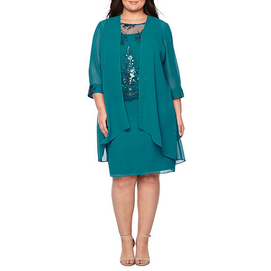 Maya Brooke 3/4 Sleeve Tiered Skirt Jacket Dress - Plus