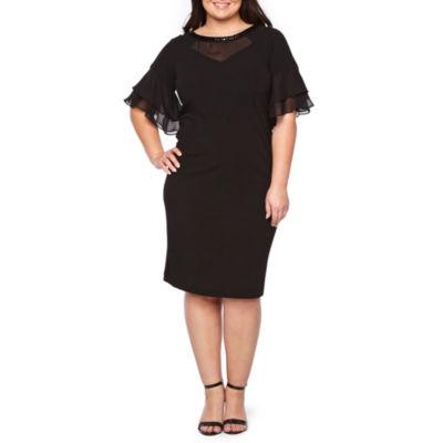 Maya Brooke Flutter Sleeve Embellished Sheath Dress - Plus