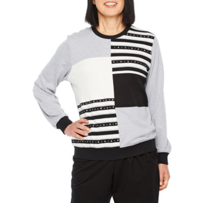 Alfred Dunner At Ease Womens Crew Neck 3/4 Sleeve Sweatshirt