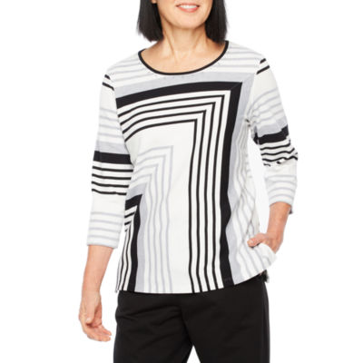 Alfred Dunner At Ease 3/4 Sleeve Round Neck Stripe T-Shirt-Womens