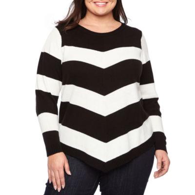 Alyx Round Neck Long Sleeve Chevron Pullover Sweater - Plus