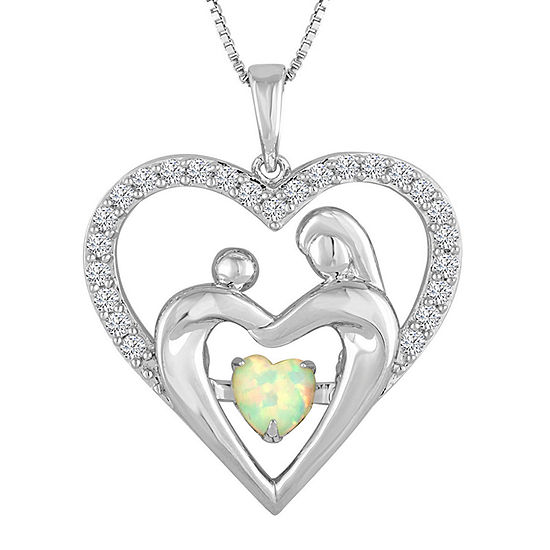 Love in Motion™ Lab-Created Opal & White Sapphire Sterling Silver Pendant