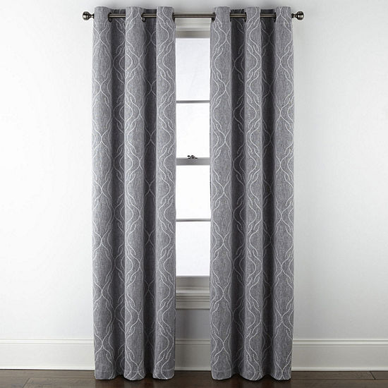Regal Home Collections, Inc. Sterling Embroidery Energy Saving Blackout Grommet-Top Single Curtain Panel