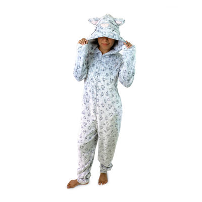Peace Love And Dreams Leopard Womens Plush Long Sleeve One Piece Pajama