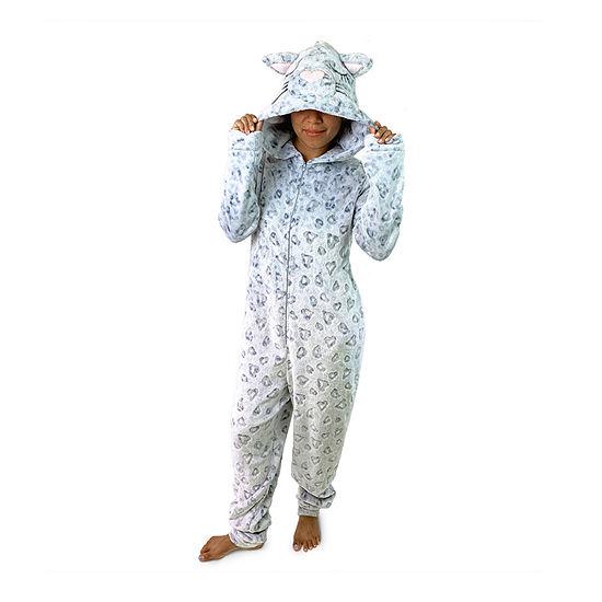 Peace Love And Dreams Leopard Womens Plush Long Sleeve One Piece Pajama