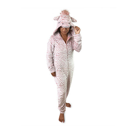 Peace Love And Dreams Womens Plush Long Sleeve One Piece Pajama, Large , Pink