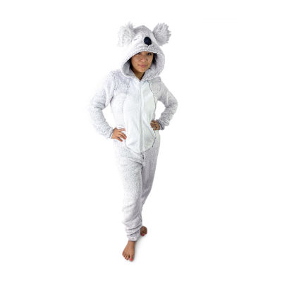 Peace Love And Dreams Koala Womens Plush Long Sleeve One Piece Pajama