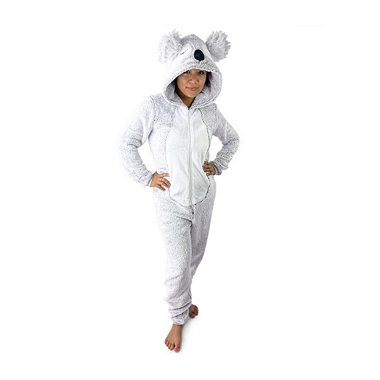 Peace Love And Dreams Koala Womens Plush Long Sleeve One Piece Pajama