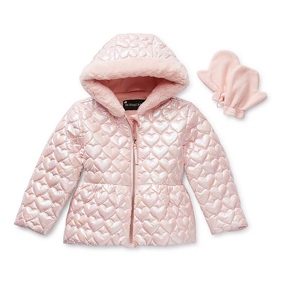 S Rothschild Toddler Girls Hooded Faux Fur Trim Heavyweight Puffer Jacket