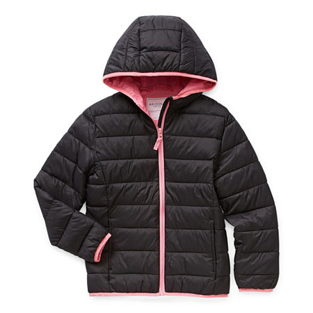 Arizona Little & Big Girls Hooded Packable Midweight Puffer Jacket, Large Plus , Black