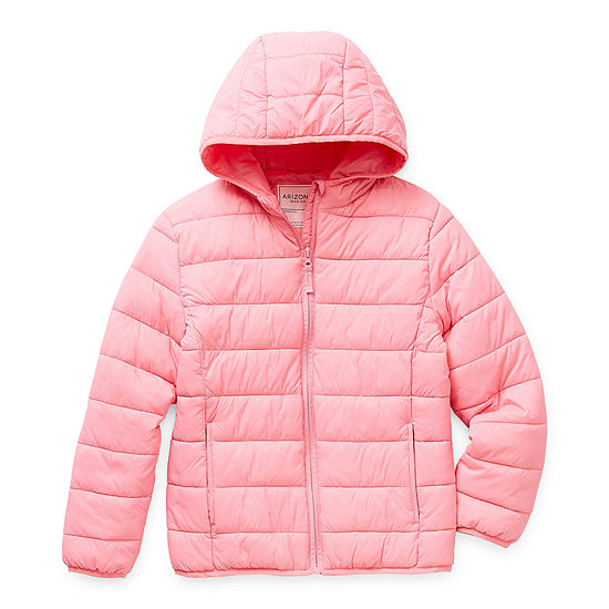 Arizona Little & Big Girls Hooded Packable Midweight Puffer Jacket
