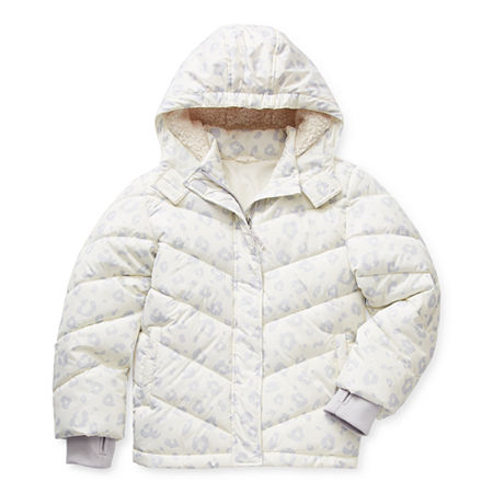 Arizona Little & Big Girls Hooded Heavyweight Puffer Jacket, X-small (6-6x) , White