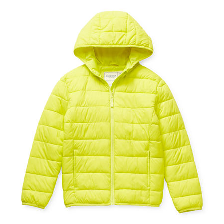 Arizona Little & Big Girls Hooded Packable Midweight Puffer Jacket, Small (7-8) , Yellow
