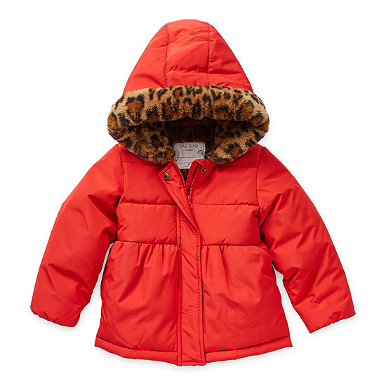 Okie Dokie Toddler Girls Hooded Lined Faux Fur Trim Heavyweight Puffer Jacket