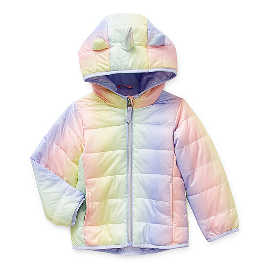 Okie Dokie Toddler Girls Hooded Packable Midweight Puffer Jacket