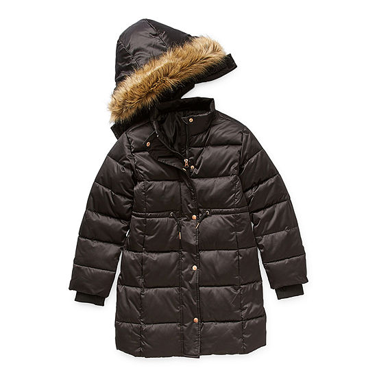 Arizona Satin Little & Big Girls Hooded Faux Fur Trim Water Resistant Midweight Puffer Jacket