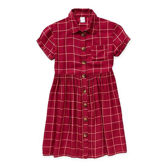 Arizona Little & Big Girls Short Sleeve Cuffed Sleeve Shirt Dress