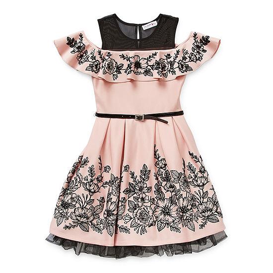 Knit Works Little & Big Girls Embellished Belted Sleeveless Skater Dress