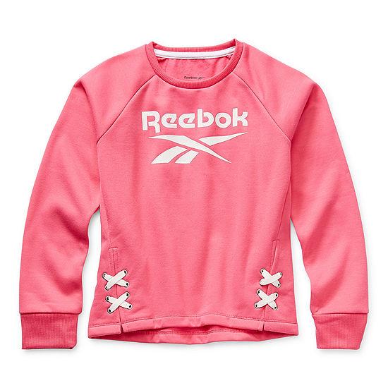 Reebok Big Girls Round Neck Long Sleeve Sweatshirt