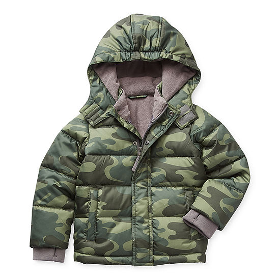 Okie Dokie Toddler Boys Hooded Heavyweight Puffer Jacket