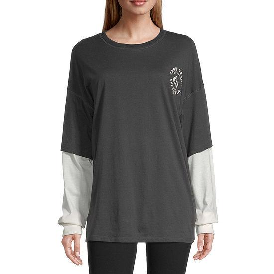 Flirtitude Juniors Womens Round Neck Long Sleeve T-Shirt