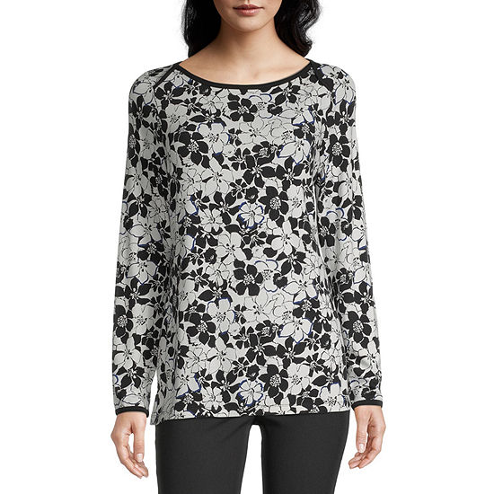 Liz Claiborne Womens Boat Neck Long Sleeve Tunic Top