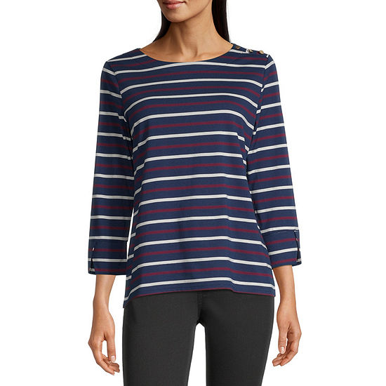 Liz Claiborne Womens Round Neck 3/4 Sleeve Graphic T-Shirt