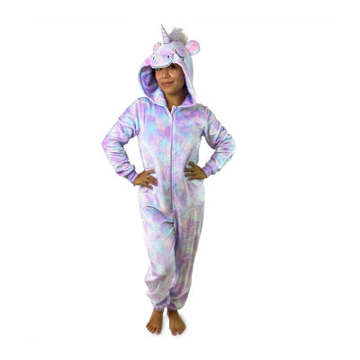 Peace Love And Dreams Unicorn Womens Plush Long Sleeve One Piece Pajama