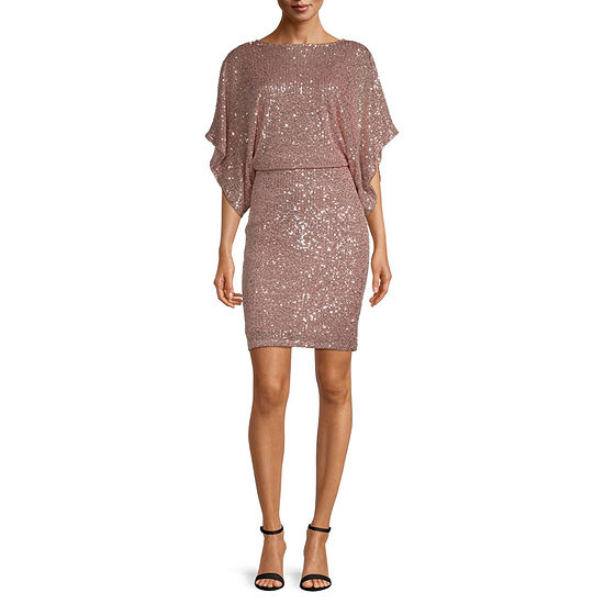 Blu Sage ¾ Sleeve Sequin Blouson Dress