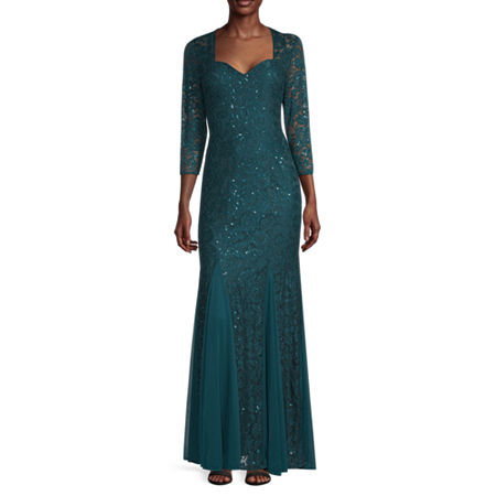 1940s Evening, Prom, Party, Formal, Ball Gowns Blu Sage Sleeve Lace Evening Gown 6  Green $105.00 AT vintagedancer.com