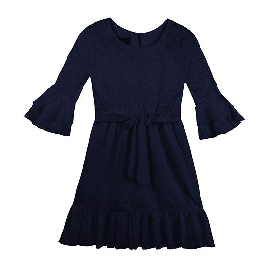 Amy Byer Big Girls 3/4 Flutter Sleeve Skater Dress
