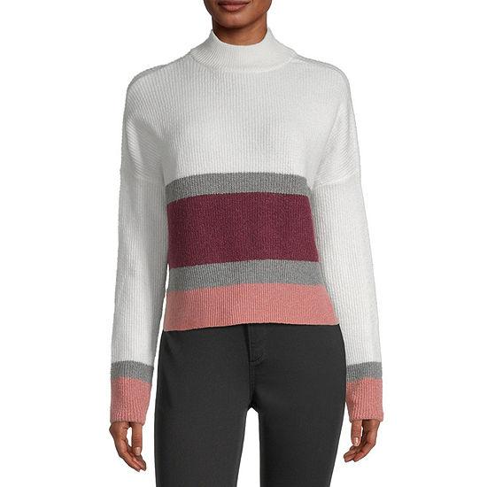 Arizona-Juniors Womens Mock Neck Long Sleeve Striped Pullover Sweater
