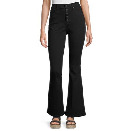 60s Pants, Jeans, Hippie, Flares, Jumpsuits a.n.a Womens High Rise Regular Fit Flare Jean 20  Black $20.99 AT vintagedancer.com