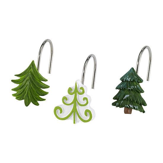 Avanti Christmas Trees Shower Curtain Hooks