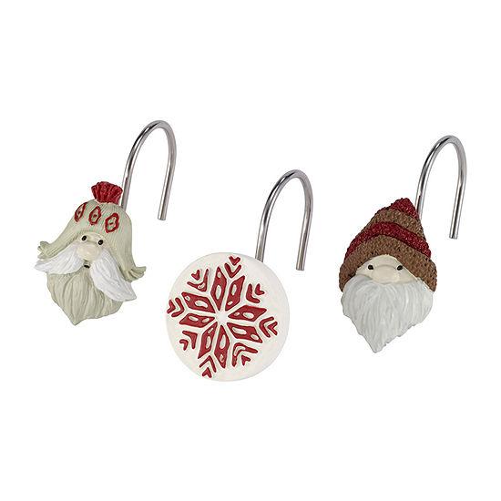 Avanti Christmas Gnome Shower Curtain Hooks