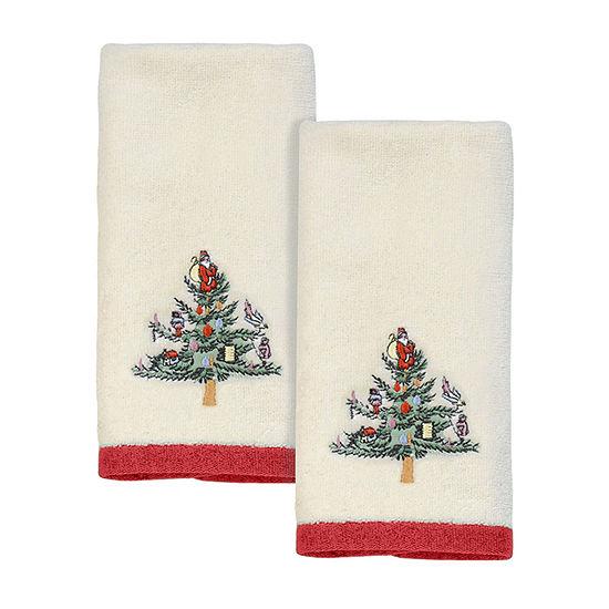 Avanti Spode Christmas Tree 2pk Fingertip 2-pc. Fingertip Towel