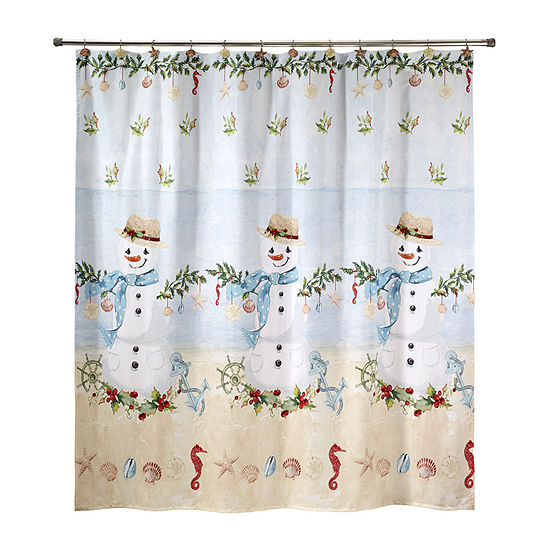 Avanti Coastal Snowman Shower Curtain