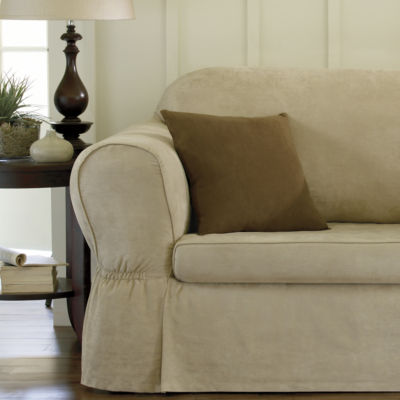 Maytex Smart Cover® Piped Faux Suede Relaxed Fit 2 Piece Sofa Furniture Cover Slipcover