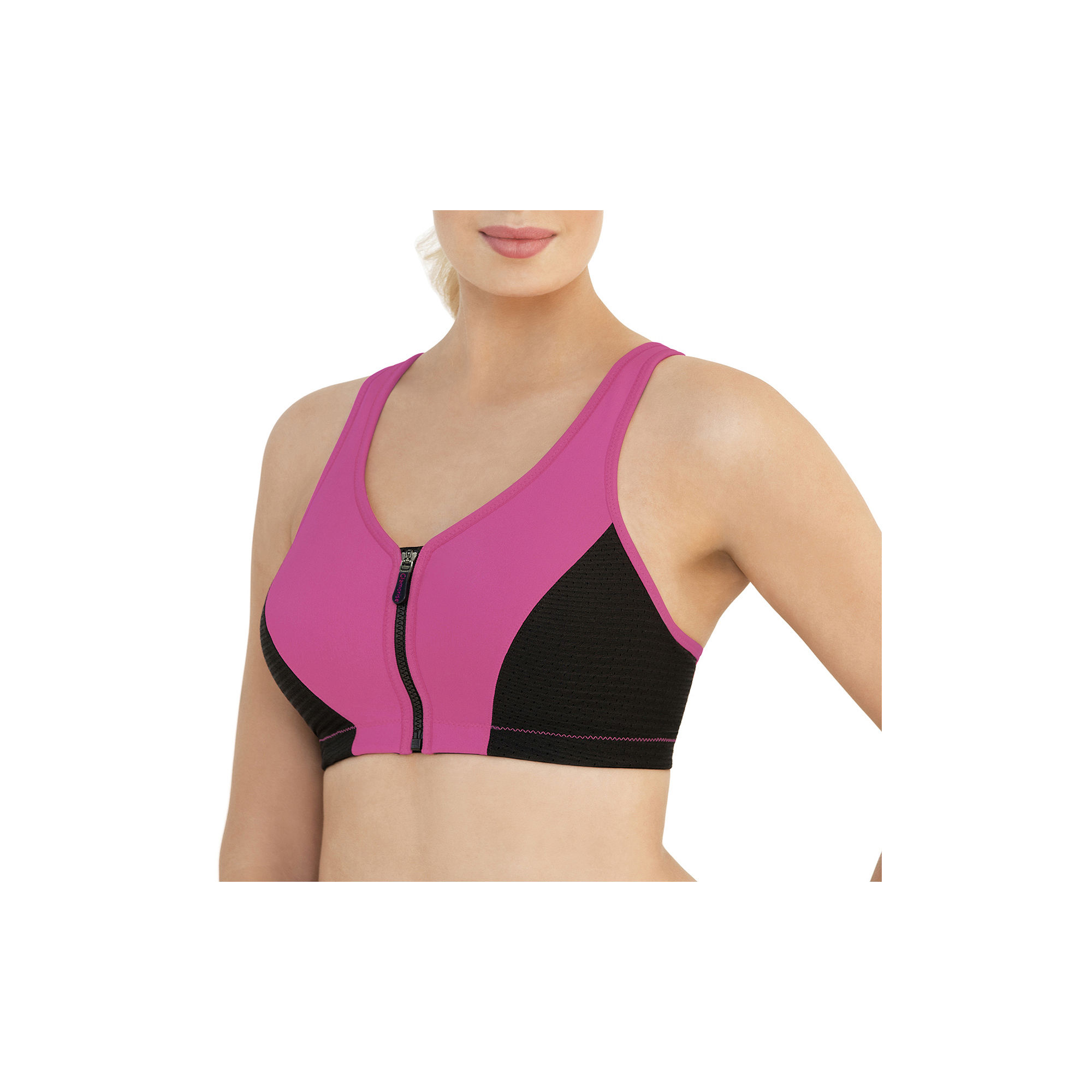 Glamorise Magiclift High Impact Zip-Front Wireless Racerback Unlined Sports Bra-1266 plus size,  plus size fashion plus size appare