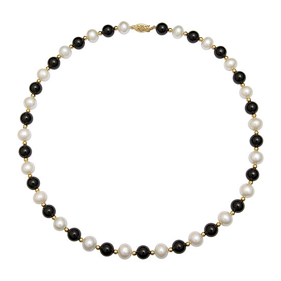Cultured Freshwater Pearl Dyed Onyx 10k Yellow Gold Necklace