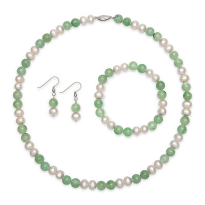 Sterling Silver Cultured Freshwater Pearl & Dyed Green Jade 3-pc. Jewelry Set