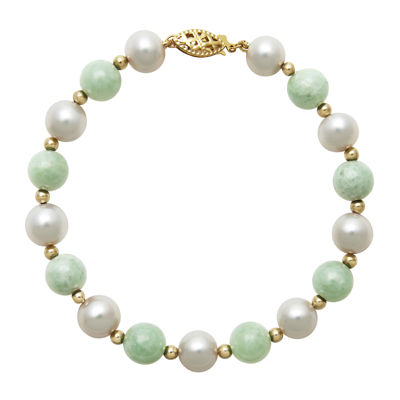 14K Yellow Gold Cultured Freshwater Pearl & Dyed Green Jade Bracelet