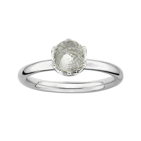 Personally Stackable Genuine White Topaz Briolette Ring