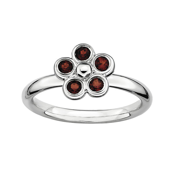 Personally Stackable Genuine Garnet Flower Ring