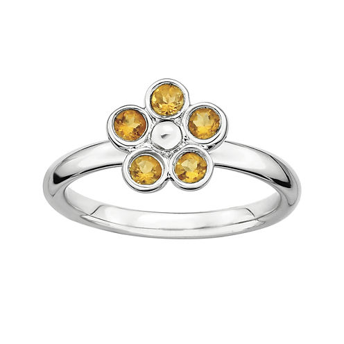 Personally Stackable Citrine Flower Ring