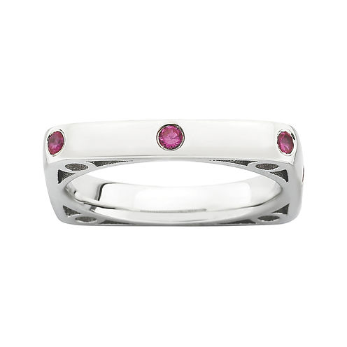 Personally Stackable Lab-Created Ruby Square Ring